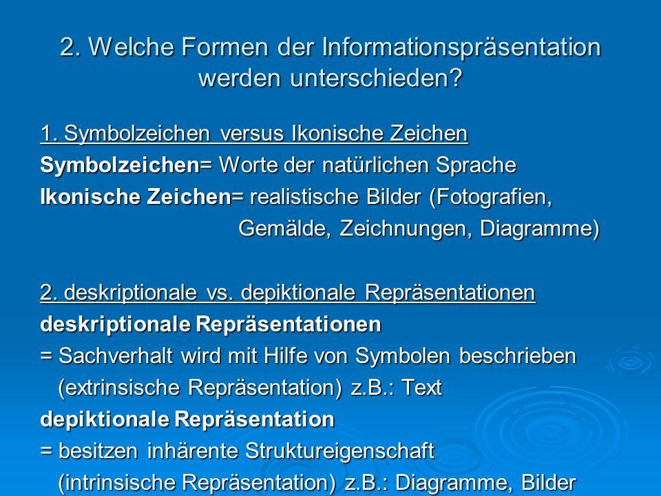 2. Welche Formen der Informationspräsentation werden unterschieden? 1. Symbolzeichen versus Ikonische Zeichen Symbolzeichen= Worte der natürlichen Spr
