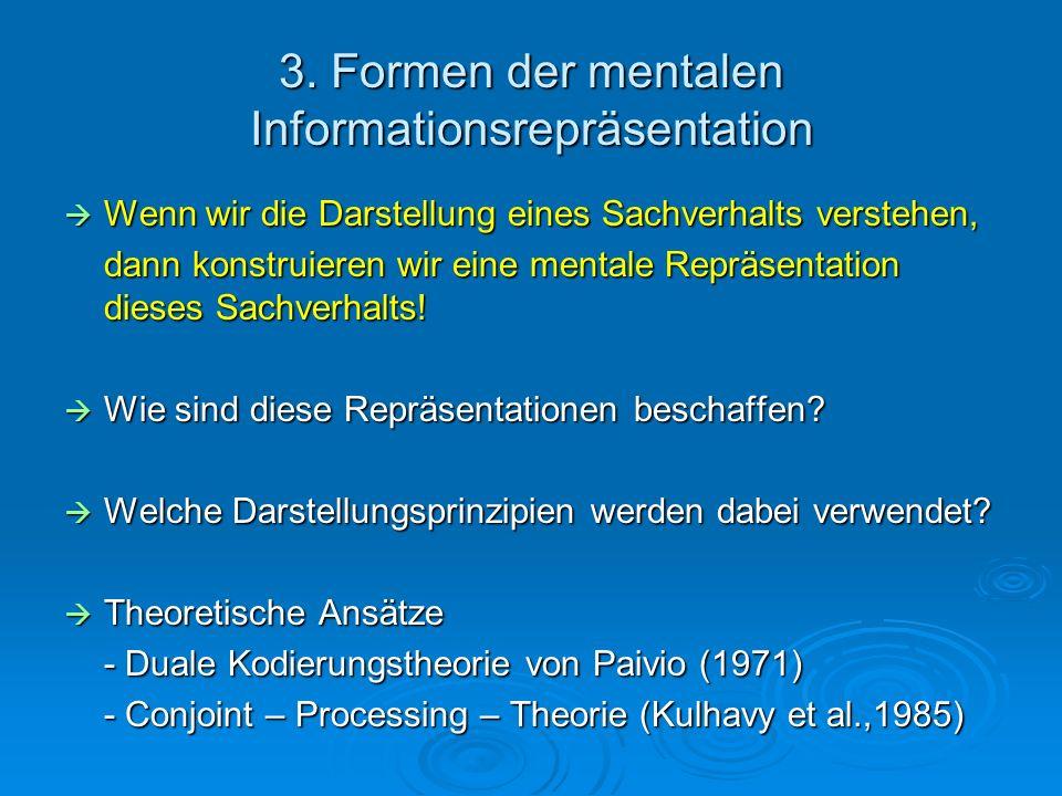 3. Formen der mentalen Informationsrepräsentation Wenn wir die Darstellung eines Sachverhalts verstehen, Wenn wir die Darstellung eines Sachverhalts v