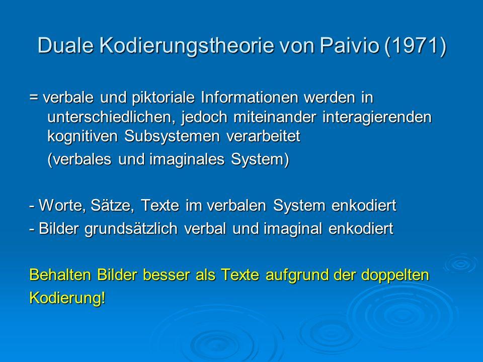 Duale Kodierungstheorie von Paivio (1971) = verbale und piktoriale Informationen werden in unterschiedlichen, jedoch miteinander interagierenden kogni
