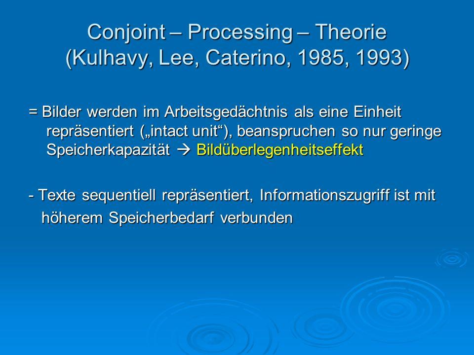 Conjoint – Processing – Theorie (Kulhavy, Lee, Caterino, 1985, 1993) = Bilder werden im Arbeitsgedächtnis als eine Einheit repräsentiert (intact unit)