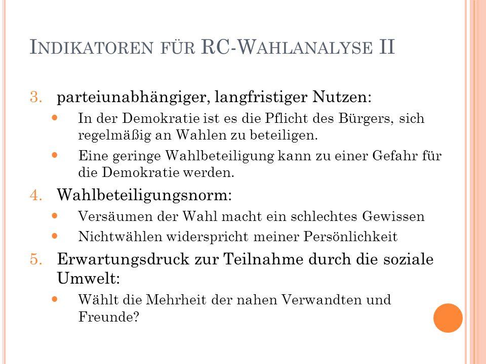 I NDIKATOREN FÜR RC-W AHLANALYSE II 3.parteiunabhängiger, langfristiger Nutzen: In der Demokratie ist es die Pflicht des Bürgers, sich regelmäßig an W