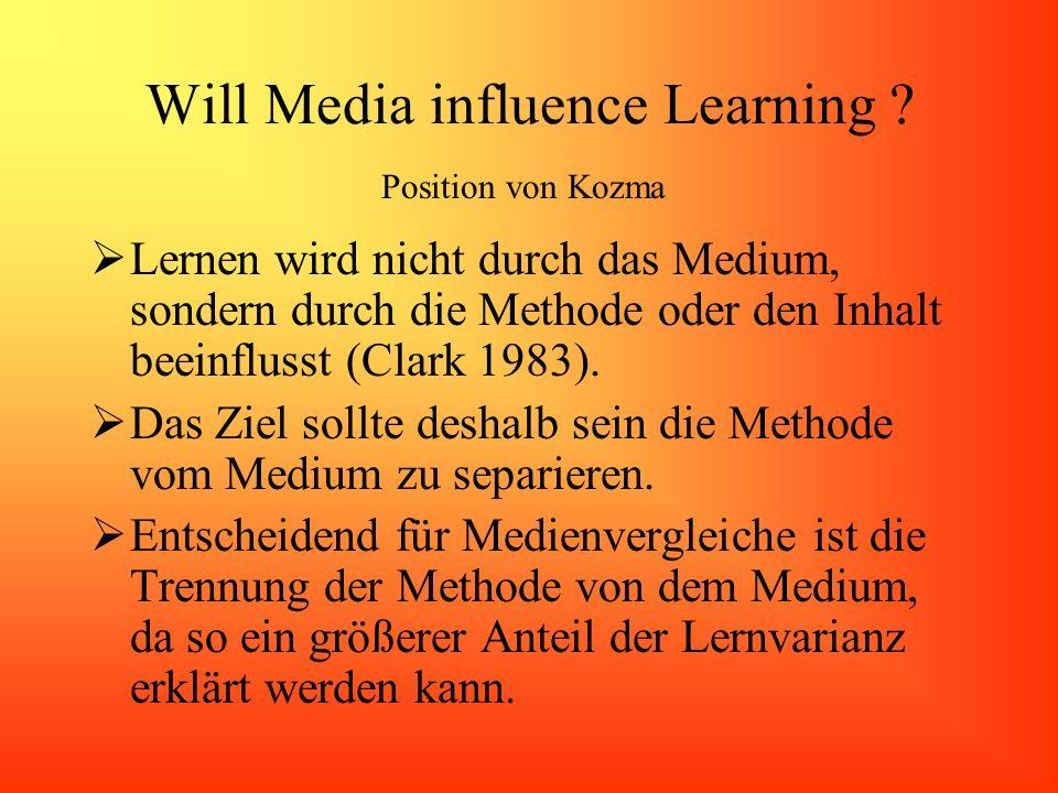Will Media influence Learning ? Lernen wird nicht durch das Medium, sondern durch die Methode oder den Inhalt beeinflusst (Clark 1983). Das Ziel sollt