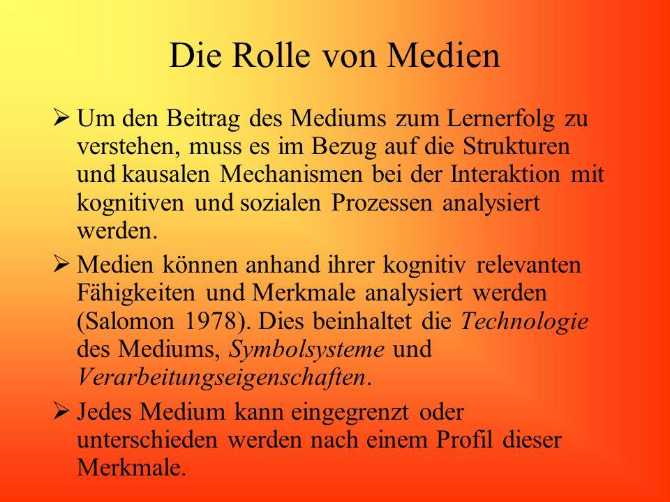 Die Rolle von Medien Um den Beitrag des Mediums zum Lernerfolg zu verstehen, muss es im Bezug auf die Strukturen und kausalen Mechanismen bei der Inte