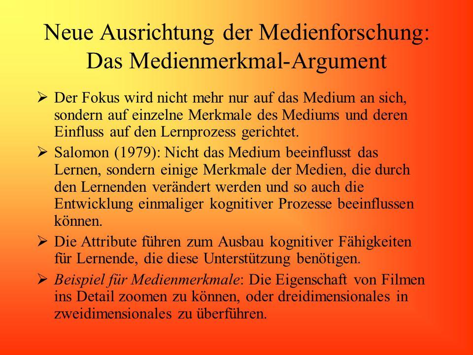 Neue Ausrichtung der Medienforschung: Das Medienmerkmal-Argument Der Fokus wird nicht mehr nur auf das Medium an sich, sondern auf einzelne Merkmale d