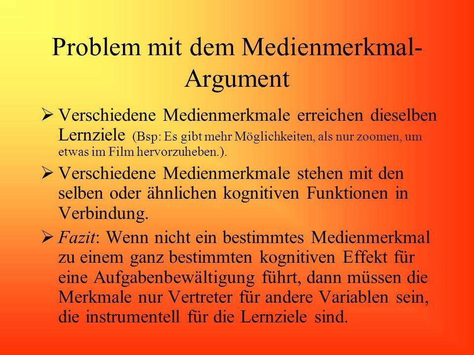 Problem mit dem Medienmerkmal- Argument Verschiedene Medienmerkmale erreichen dieselben Lernziele (Bsp: Es gibt mehr Möglichkeiten, als nur zoomen, um