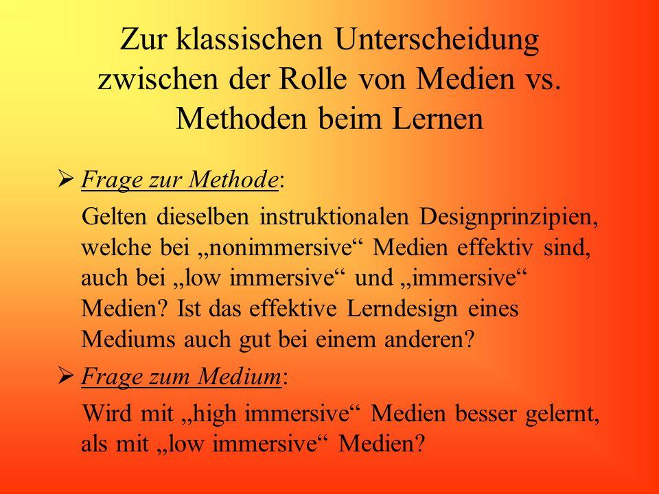 Zur klassischen Unterscheidung zwischen der Rolle von Medien vs. Methoden beim Lernen Frage zur Methode: Gelten dieselben instruktionalen Designprinzi