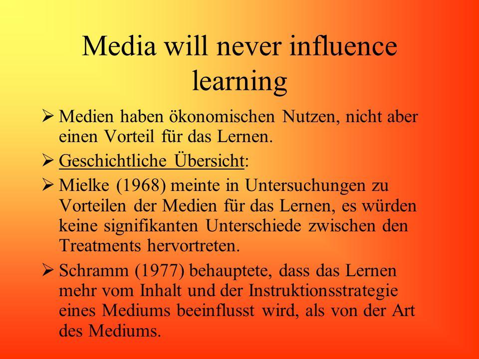 Media will never influence learning Medien haben ökonomischen Nutzen, nicht aber einen Vorteil für das Lernen. Geschichtliche Übersicht: Mielke (1968)