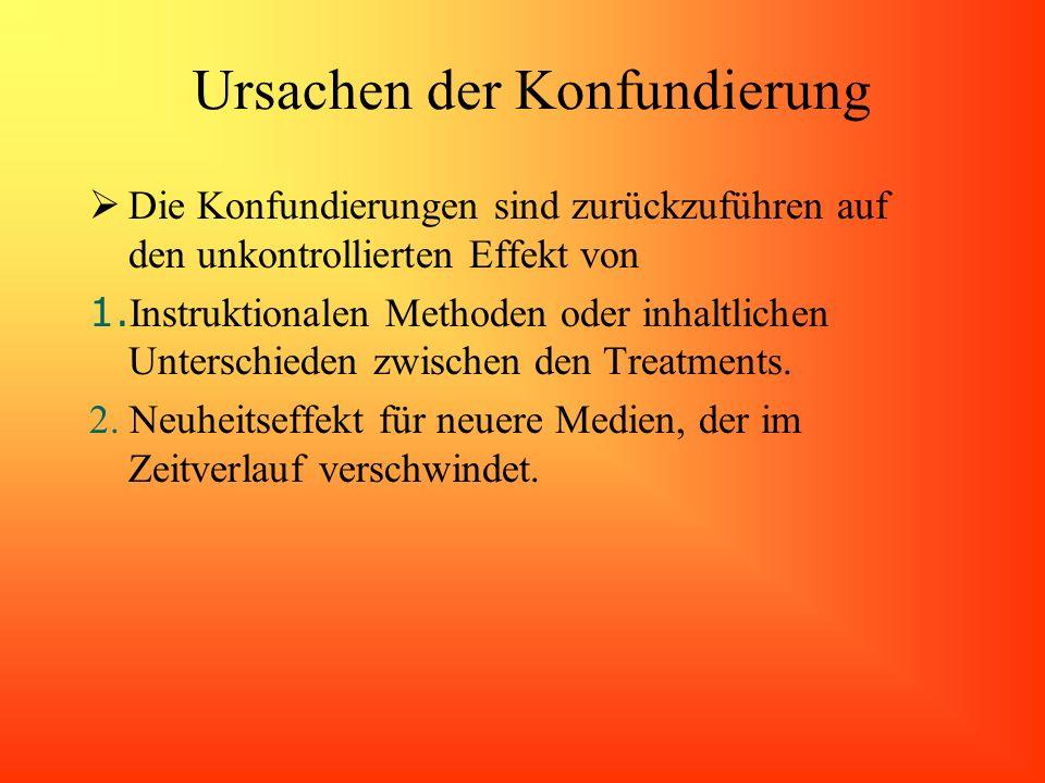 Ursachen der Konfundierung Die Konfundierungen sind zurückzuführen auf den unkontrollierten Effekt von 1. Instruktionalen Methoden oder inhaltlichen U
