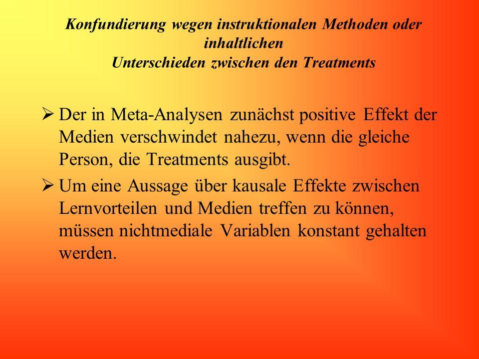 Konfundierung wegen instruktionalen Methoden oder inhaltlichen Unterschieden zwischen den Treatments Der in Meta-Analysen zunächst positive Effekt der