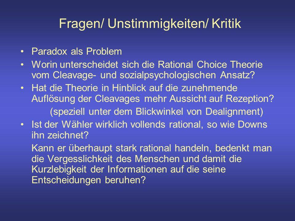 Fragen/ Unstimmigkeiten/ Kritik Paradox als Problem Worin unterscheidet sich die Rational Choice Theorie vom Cleavage- und sozialpsychologischen Ansatz.