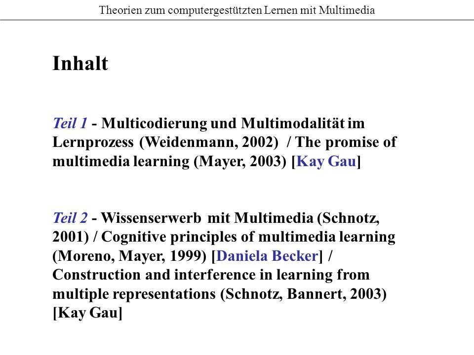Theorien zum computergestützten Lernen mit Multimedia Der Einfluss von Multicodierung und Multimodalität auf motivationale Aspekte des Lernens Unterschätzungsthese (Salomon, 1984) Hemmmungsthese fehlende Interaktivität