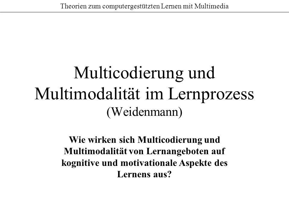 Theorien zum computergestützten Lernen mit Multimedia Multicodierung und Multimodalität im Lernprozess (Weidenmann) Wie wirken sich Multicodierung und Multimodalität von Lernangeboten auf kognitive und motivationale Aspekte des Lernens aus?