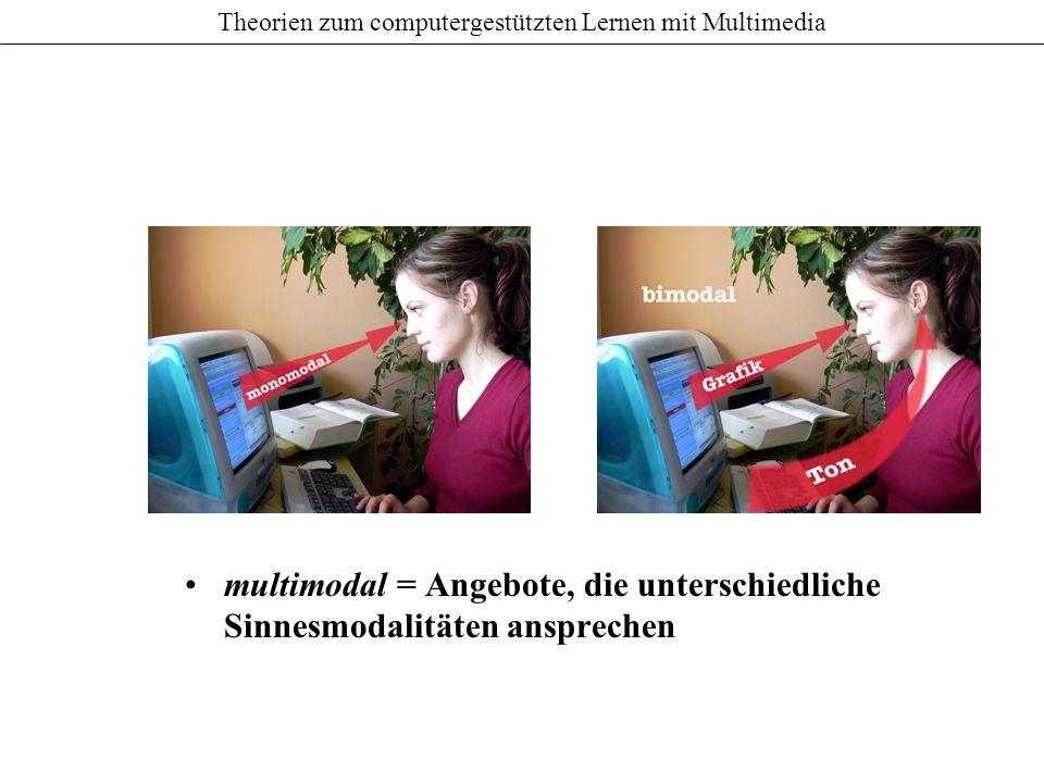 Theorien zum computergestützten Lernen mit Multimedia multimodal = Angebote, die unterschiedliche Sinnesmodalitäten ansprechen
