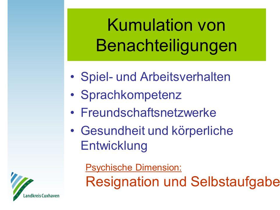 Kumulation von Benachteiligungen Spiel- und Arbeitsverhalten Sprachkompetenz Freundschaftsnetzwerke Gesundheit und körperliche Entwicklung Psychische Dimension: Resignation und Selbstaufgabe
