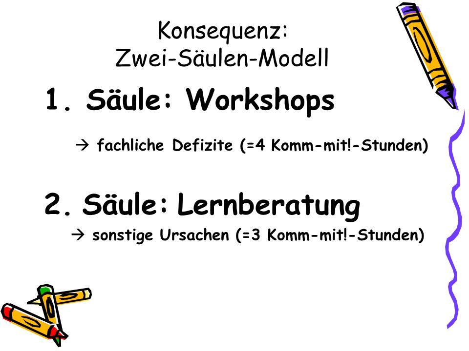 Konsequenz: Zwei-Säulen-Modell 1.Säule: Workshops fachliche Defizite (=4 Komm-mit!-Stunden) 2.