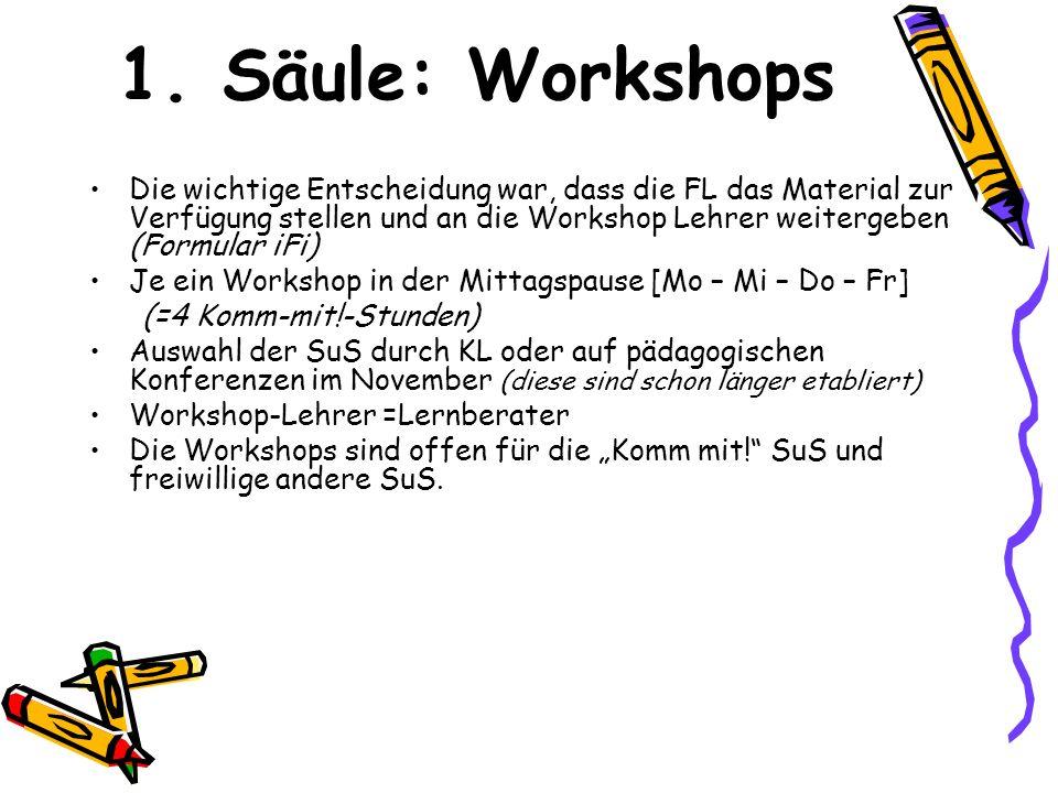 1. Säule: Workshops Die wichtige Entscheidung war, dass die FL das Material zur Verfügung stellen und an die Workshop Lehrer weitergeben (Formular iFi