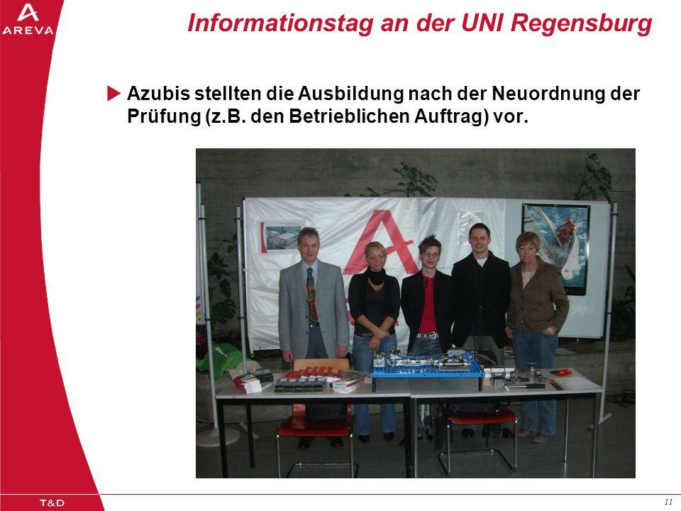 11 Informationstag an der UNI Regensburg Azubis stellten die Ausbildung nach der Neuordnung der Prüfung (z.B. den Betrieblichen Auftrag) vor.