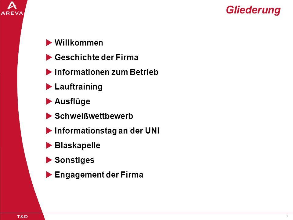 33 Gliederung Willkommen Geschichte der Firma Informationen zum Betrieb Lauftraining Ausflüge Schweißwettbewerb Informationstag an der UNI Blaskapelle