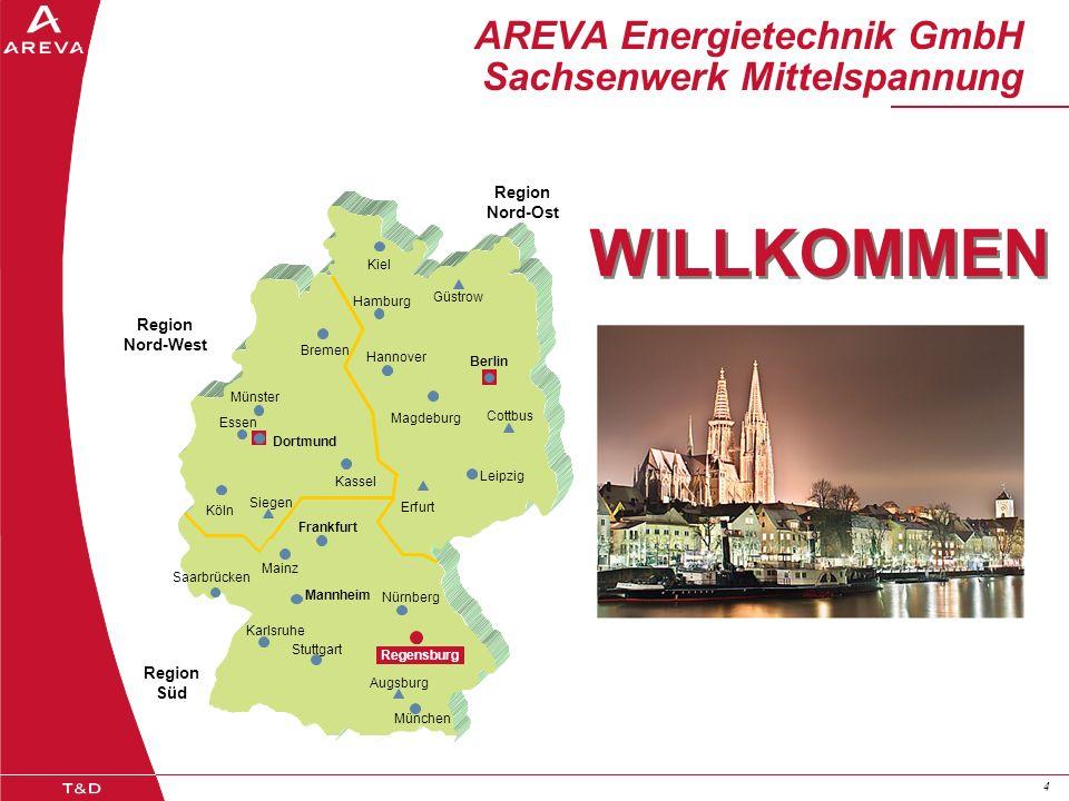 44 AREVA Energietechnik GmbH Sachsenwerk Mittelspannung Region Nord-West Region Nord-Ost Region Süd Kiel Hamburg Bremen Güstrow Berlin Cottbus Hannove