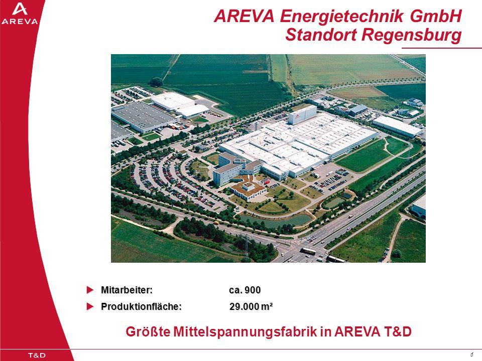 66 AREVA Energietechnik GmbH Standort Regensburg Größte Mittelspannungsfabrik in AREVA T&D Mitarbeiter: ca. 900 Mitarbeiter: ca. 900 Produktionfläche: