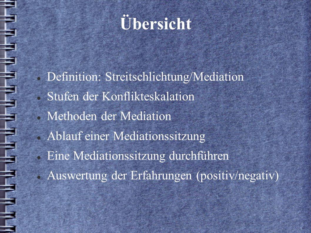 Übersicht Definition: Streitschlichtung/Mediation Stufen der Konflikteskalation Methoden der Mediation Ablauf einer Mediationssitzung Eine Mediationss