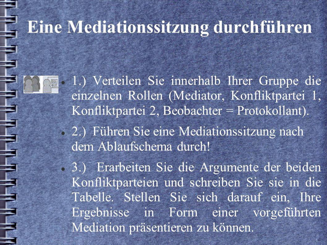 Eine Mediationssitzung durchführen 1.) Verteilen Sie innerhalb Ihrer Gruppe die einzelnen Rollen (Mediator, Konfliktpartei 1, Konfliktpartei 2, Beobac