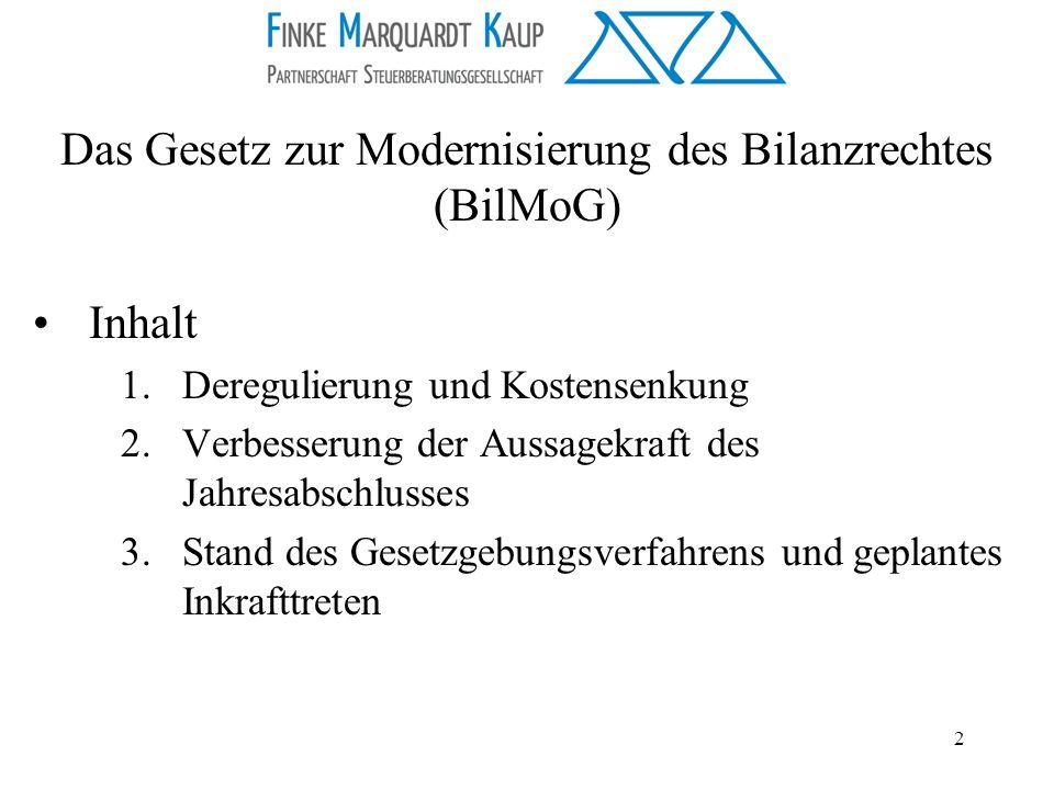 2 Inhalt 1.Deregulierung und Kostensenkung 2.Verbesserung der Aussagekraft des Jahresabschlusses 3.Stand des Gesetzgebungsverfahrens und geplantes Ink
