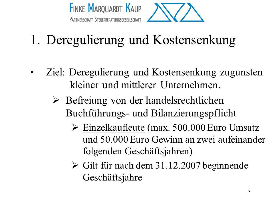 3 1.Deregulierung und Kostensenkung Ziel: Deregulierung und Kostensenkung zugunsten kleiner und mittlerer Unternehmen. Befreiung von der handelsrechtl