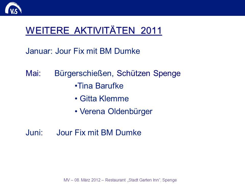 MV – 08. März 2012 – Restaurant Stadt Garten Inn, Spenge WEITERE AKTIVITÄTEN 2011 Januar: Jour Fix mit BM Dumke Mai: Bürgerschießen, Schützen Spenge T