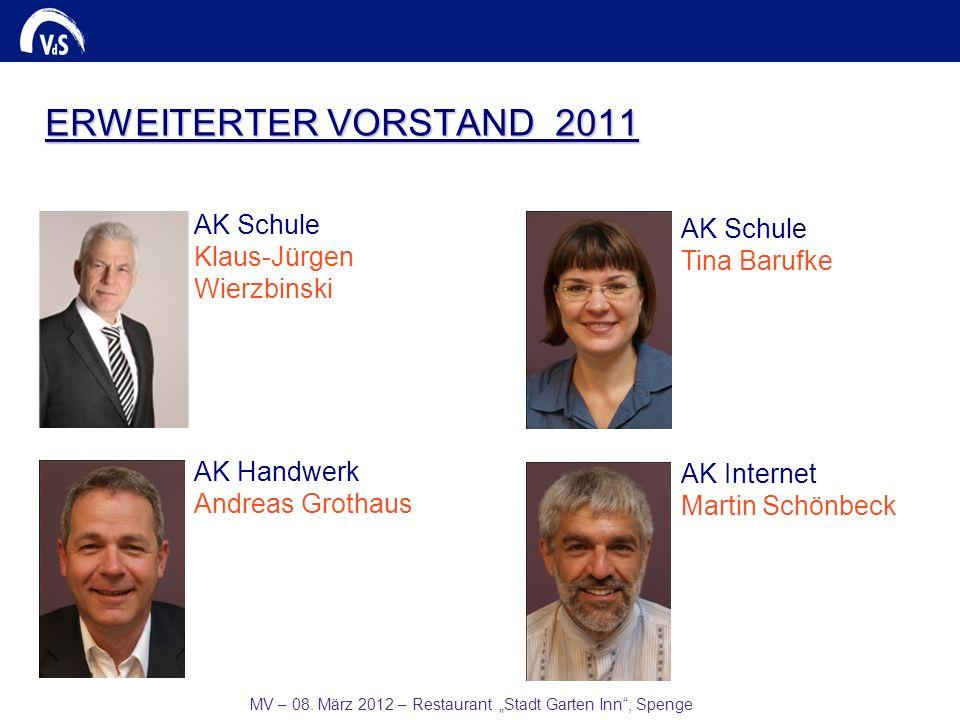 MV – 08. März 2012 – Restaurant Stadt Garten Inn, Spenge AK Schule Tina Barufke AK Internet Martin Schönbeck AK Handwerk Andreas Grothaus AK Schule Kl