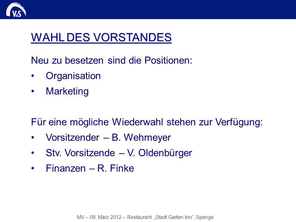 MV – 08. März 2012 – Restaurant Stadt Garten Inn, Spenge Neu zu besetzen sind die Positionen: Organisation Marketing Für eine mögliche Wiederwahl steh
