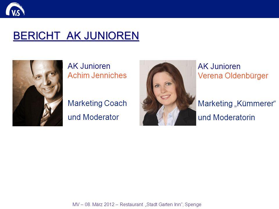 MV – 08. März 2012 – Restaurant Stadt Garten Inn, Spenge AK Junioren Verena Oldenbürger Marketing Kümmerer und Moderatorin AK Junioren Achim Jenniches