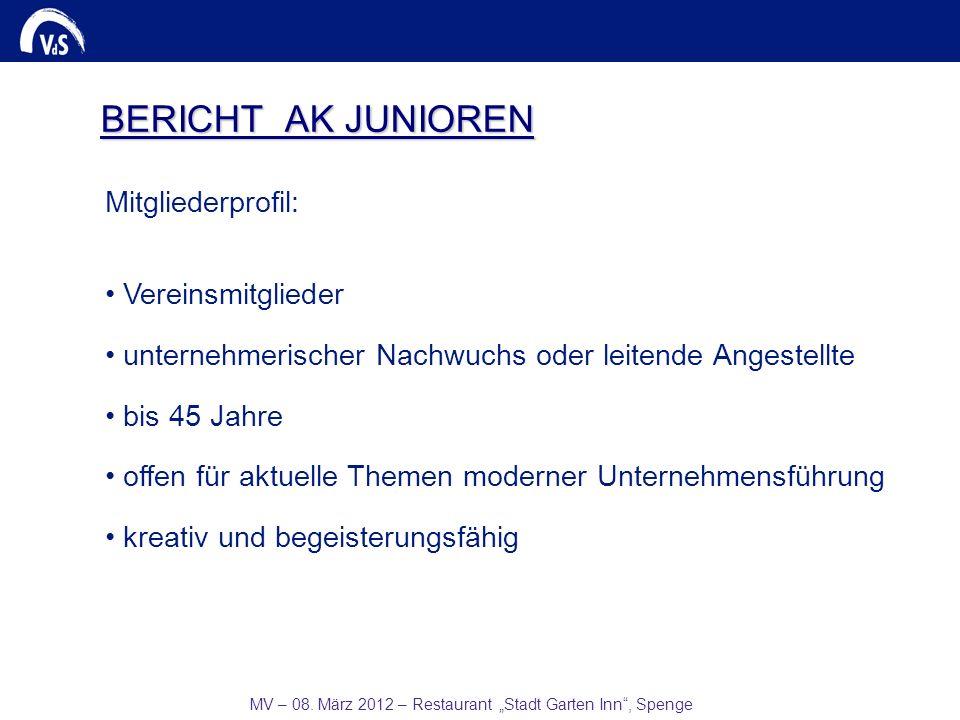 MV – 08. März 2012 – Restaurant Stadt Garten Inn, Spenge BERICHT AK JUNIOREN Mitgliederprofil: Vereinsmitglieder unternehmerischer Nachwuchs oder leit
