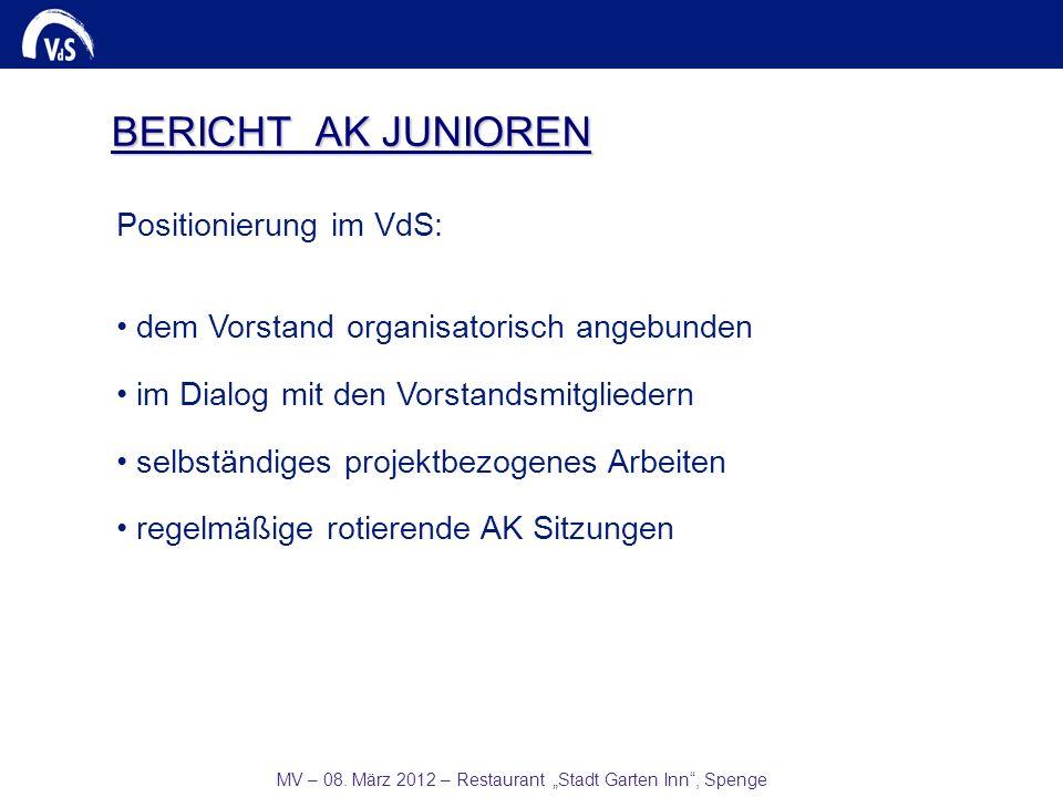 MV – 08. März 2012 – Restaurant Stadt Garten Inn, Spenge BERICHT AK JUNIOREN Positionierung im VdS: dem Vorstand organisatorisch angebunden im Dialog