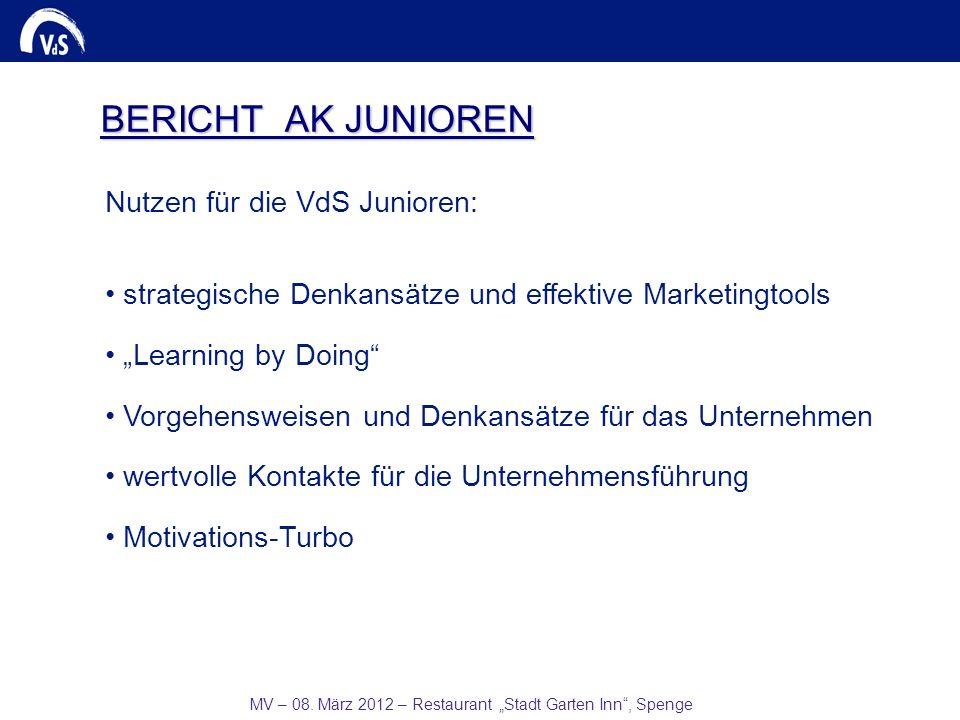 MV – 08. März 2012 – Restaurant Stadt Garten Inn, Spenge BERICHT AK JUNIOREN Nutzen für die VdS Junioren: strategische Denkansätze und effektive Marke