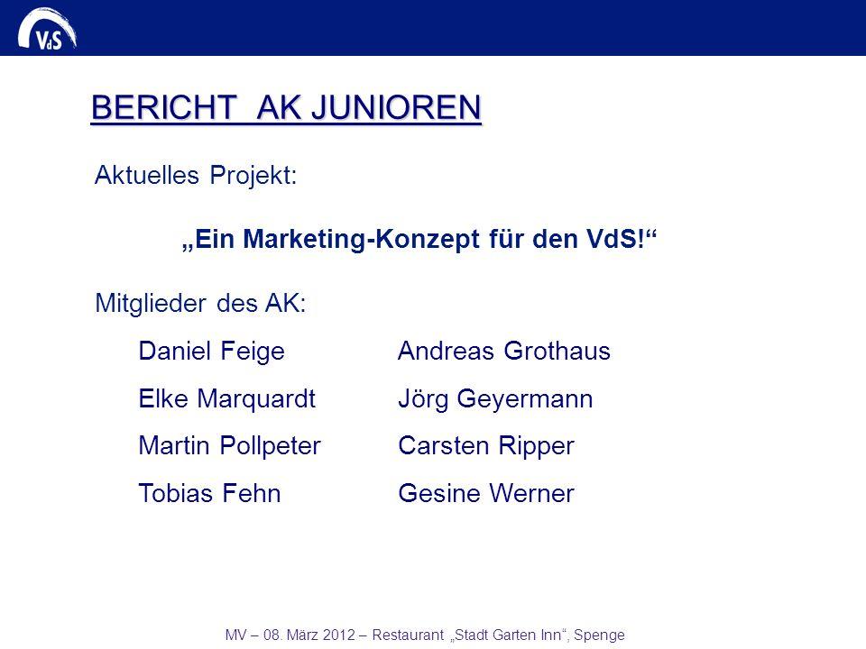 MV – 08. März 2012 – Restaurant Stadt Garten Inn, Spenge BERICHT AK JUNIOREN Aktuelles Projekt: Ein Marketing-Konzept für den VdS! Mitglieder des AK: