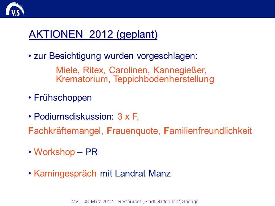 MV – 08. März 2012 – Restaurant Stadt Garten Inn, Spenge AKTIONEN 2012 (geplant) zur Besichtigung wurden vorgeschlagen: Miele, Ritex, Carolinen, Kanne