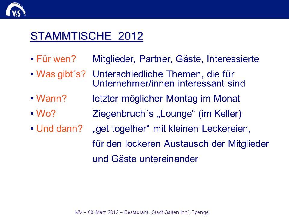 MV – 08. März 2012 – Restaurant Stadt Garten Inn, Spenge STAMMTISCHE 2012 Für wen? Mitglieder, Partner, Gäste, Interessierte Was gibt´s?Unterschiedlic