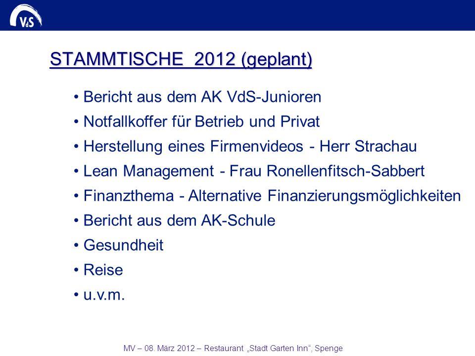 MV – 08. März 2012 – Restaurant Stadt Garten Inn, Spenge STAMMTISCHE 2012 (geplant) Bericht aus dem AK VdS-Junioren Notfallkoffer für Betrieb und Priv