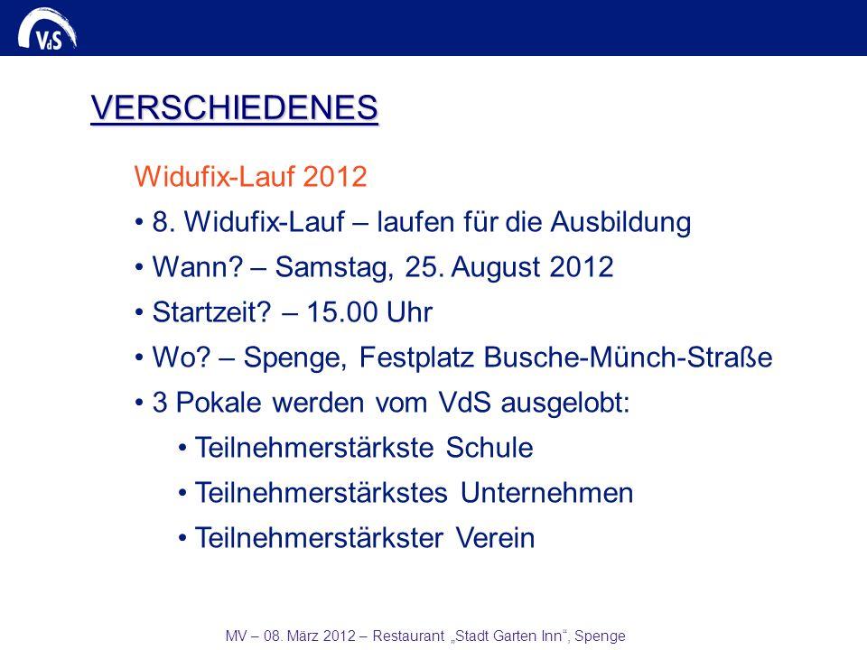 MV – 08. März 2012 – Restaurant Stadt Garten Inn, Spenge VERSCHIEDENES Widufix-Lauf 2012 8. Widufix-Lauf – laufen für die Ausbildung Wann? – Samstag,