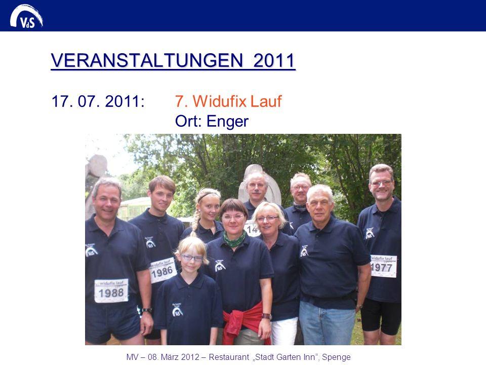 MV – 08. März 2012 – Restaurant Stadt Garten Inn, Spenge VERANSTALTUNGEN 2011 17. 07. 2011:7. Widufix Lauf Ort: Enger