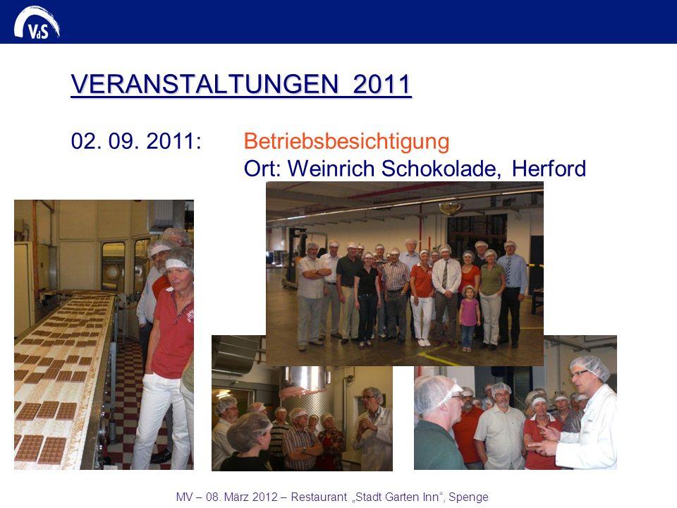 MV – 08. März 2012 – Restaurant Stadt Garten Inn, Spenge VERANSTALTUNGEN 2011 02. 09. 2011:Betriebsbesichtigung Ort: Weinrich Schokolade, Herford