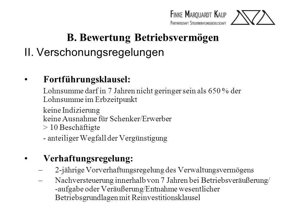 B. Bewertung Betriebsvermögen II.