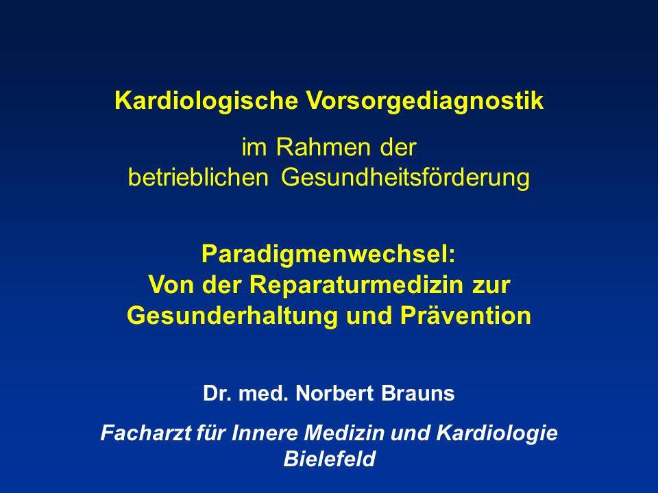 Kardiologische Vorsorgediagnostik im Rahmen der betrieblichen Gesundheitsförderung Paradigmenwechsel: Von der Reparaturmedizin zur Gesunderhaltung und