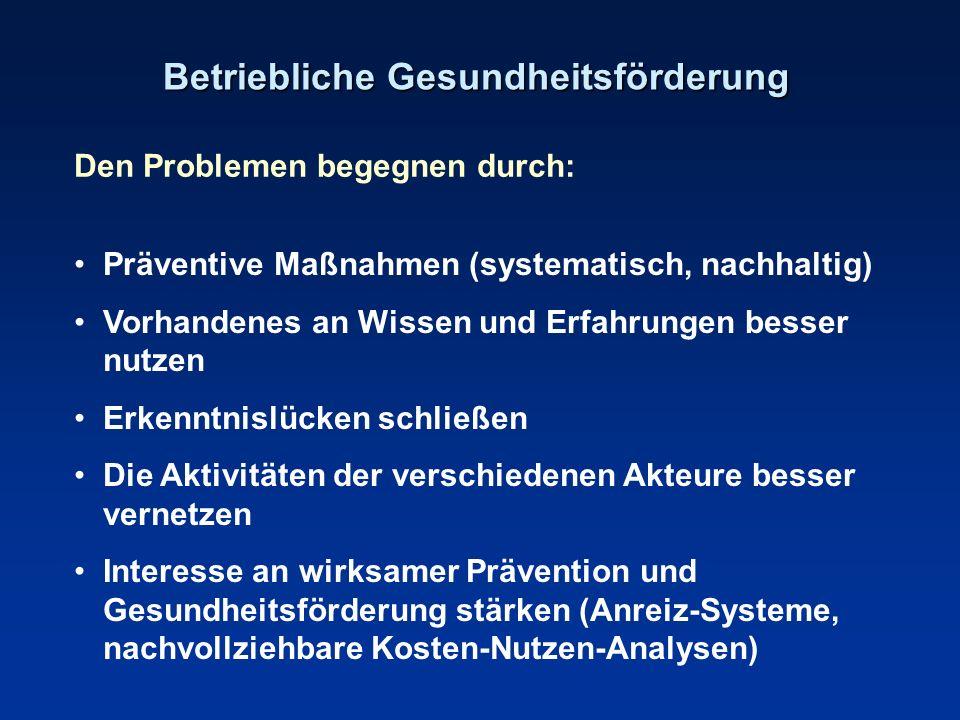 Betriebliche Gesundheitsförderung Den Problemen begegnen durch: Präventive Maßnahmen (systematisch, nachhaltig) Vorhandenes an Wissen und Erfahrungen