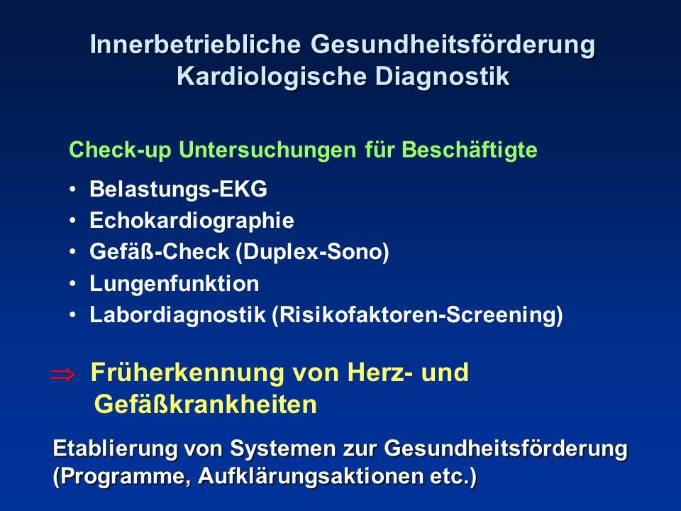 Innerbetriebliche Gesundheitsförderung Kardiologische Diagnostik Check-up Untersuchungen für Beschäftigte Belastungs-EKG Echokardiographie Gefäß-Check