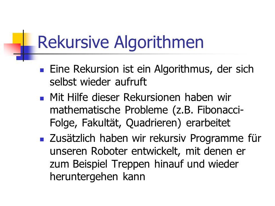 Rekursive Algorithmen Eine Rekursion ist ein Algorithmus, der sich selbst wieder aufruft Mit Hilfe dieser Rekursionen haben wir mathematische Probleme