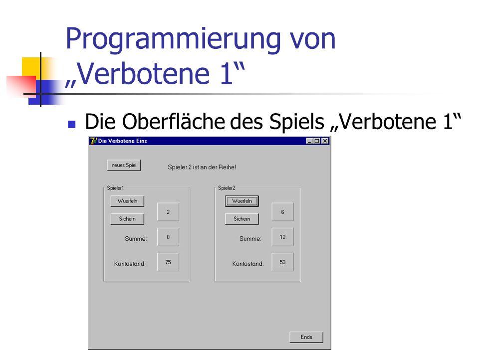 Programmierung von Verbotene 1 Die Oberfläche des Spiels Verbotene 1