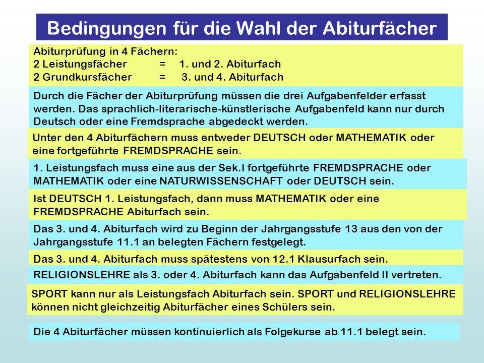 Abiturprüfung in 4 Fächern: 2 Leistungsfächer = 1. und 2. Abiturfach 2 Grundkursfächer = 3. und 4. Abiturfach Durch die Fächer der Abiturprüfung müsse