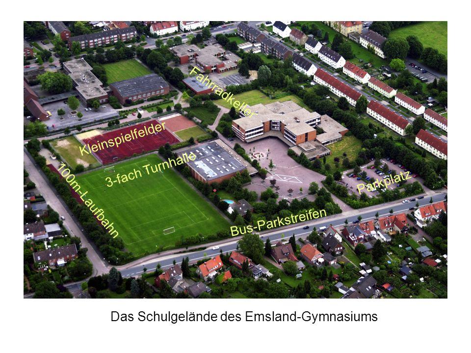 3-fach Turnhalle Parkplatz 100m-Laufbahn Bus-Parkstreifen Kleinspielfelder Das Schulgelände des Emsland-Gymnasiums Fahrradkeller